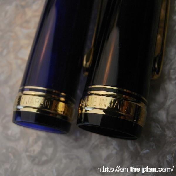 プラチナ万年筆 #3776 ミュージック & #3776 シャルトル・ブルー 極太<C> キャップの形状は同じ。スリップ・シール機構も同じに見えます。