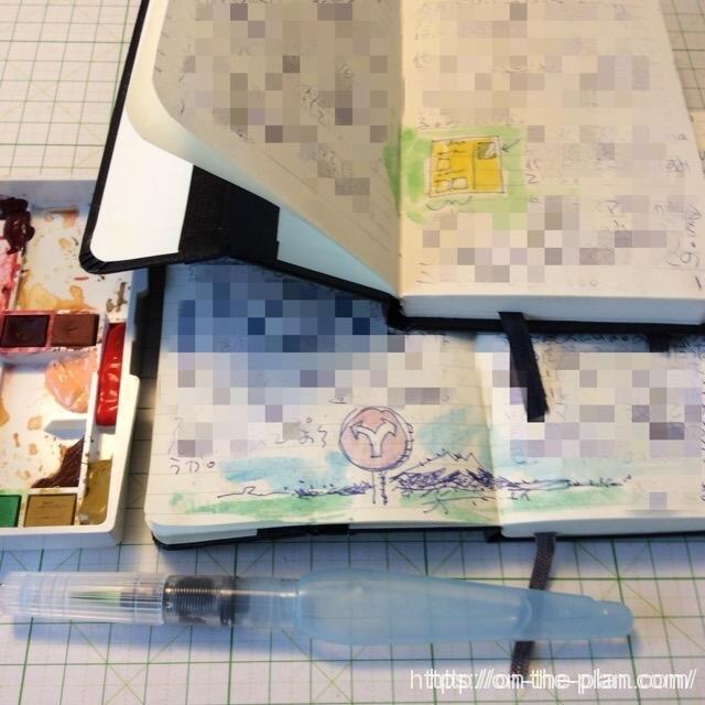 表やグラフに水彩で色を添えるのに画才はまったく必要ない、たまには混ぜた絵具が絶妙な美しい色彩になったりする。空いた紙面に浮かんだイメージをちょっと書いたりすよね、そんなとき机に水彩のパレットがあったら一分で色をつけられる。