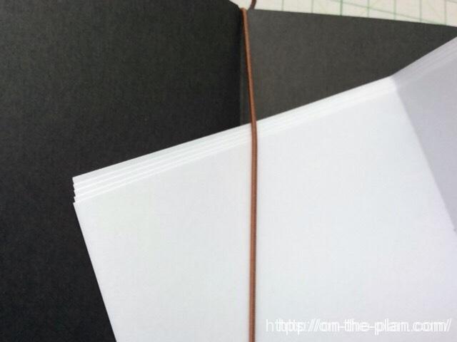 三つ折にしたミスコピー用紙をゴムひもに通します。