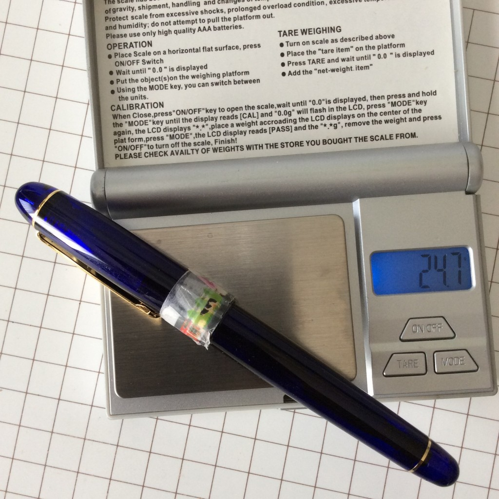 プラチナ万年筆#3776シャルトルブルー〈細軟〉の重さは実測で24.7gだった。