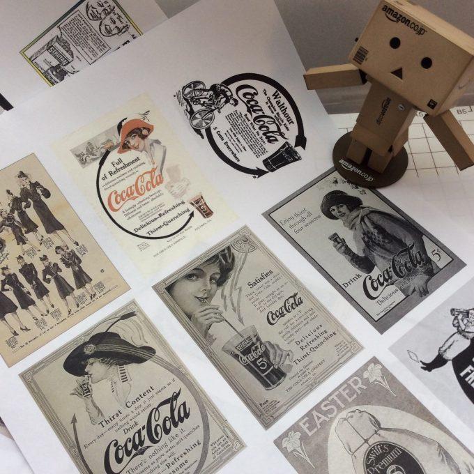 無料、トラベラーズノートのカスタマイズ用紙シール、ノスタルジックな60年代の作り方の例です。いつもこんなふうに遊んでいます。プリンターとPC、ハサミがあればすぐにできます。