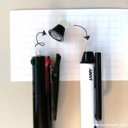 カスタマイズといっても、フリクションボールの消去用ラバーを接着剤で貼り付けるだけです。