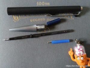 上からモンブラン782の軸、芯パーツ(最初から付いていたもの)、口金、フリクション多色芯(LFBTRF)、自作追加パーツ