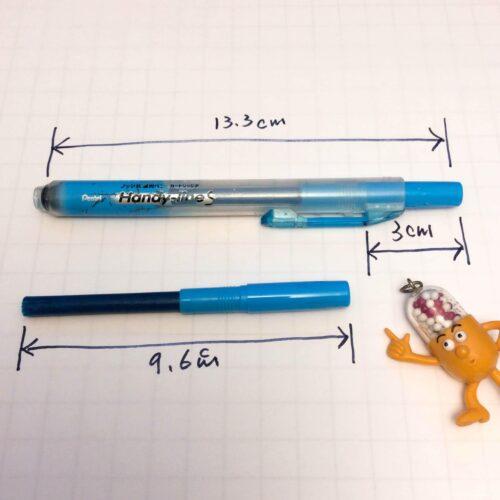 ポケットに挿すと、クリップの内端から3cmもノック部が飛び出るよ
