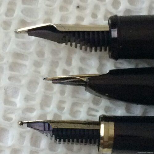 横から見たミュージックペン先3種類
